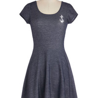 ModCloth Nautical Mid-length Short Sleeves A-line Grand Old Maritime Dress