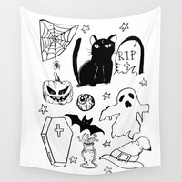 Halloween Doodles 1 Wall Tapestry by Shashira Handmaker
