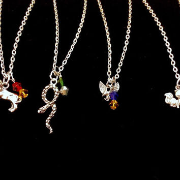 Simple Harry Potter Hogwarts House Charm Necklace