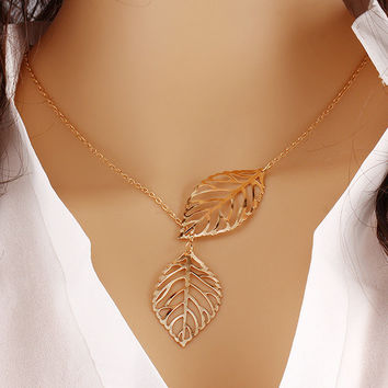 Metal Leaf Pendant with Chain