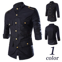 Gold Button Army Style Men Fashion Shirt SOS