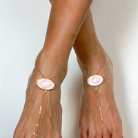 Light Pink Chained Barefoot Sandals