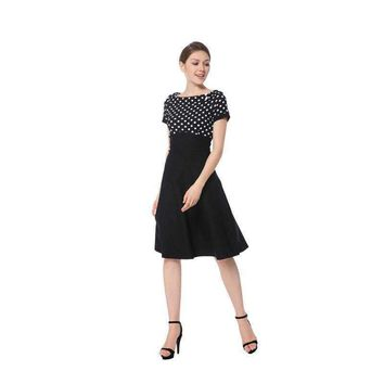 Womens Elegant Preppy Style High Quality Black Polka Dots Short Sleeve Cocktail Party Summer Fashion A Line Dress 2018 206026