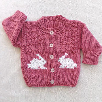 Baby girl knit cardigan, Baby cardigan with bunnies, Toddler bunny sweater, Baby shower gift
