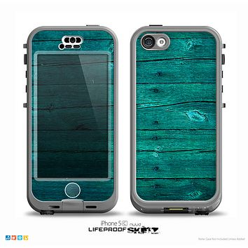 The Bright Emerald Green Wood Planks Skin for the iPhone 5c nüüd LifeProof Case