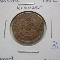 1862 German States Nassau Kreuzer Almost Uncirculated Copper Antique Coin