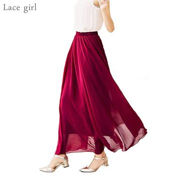 Women's Elegant High Waist Chiffon Skirt Elastic Waist Casual Long Maxi Skirts Saias 80/90/100cm 22 Color 2018 Summer Autumn New