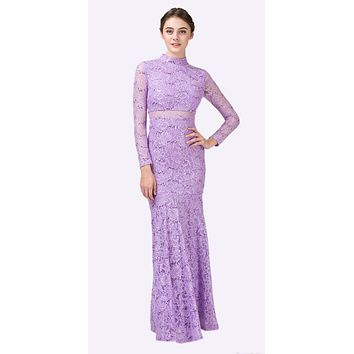 CLEARANCE - Long Sleeve Lace Full Length Dress Lilac Mock 2 Piece High Neck (Size XL)