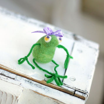 Needle Felt Frog - A Little Felt  Green Baby Frog With A Purple Ribbon - Needle Felting Frog - Art Doll