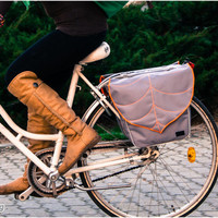 Light Grey Leaf Pannier Bag, Waterproof Bicycle Pannier, Messenger bag, Bike accessories, Cycling Bag