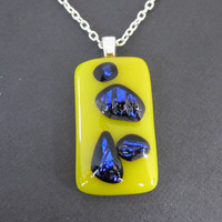 Dichroic Necklace Fused Glass Necklace Yellow by mysassyglass