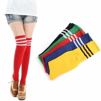 Women Fashion Hot Thigh High Socks Sexy Warm Cotton Over The Knee Socks Striped Activewear Long Stockings For Girls Wholesale