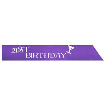 21ST Birthday Sash Purple