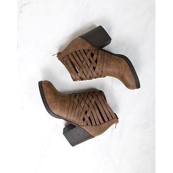 strappy woven vamp chunky heel bootie - camel