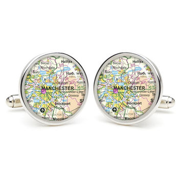 Manchester  map cufflinks , wedding gift ideas for groom,gift for dad,great gift ideas for men,groomsmen cufflinks,silver cufflinks,Map