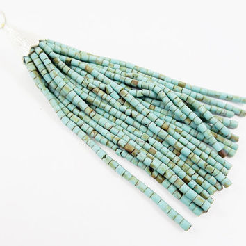 Natural Turquoise Matrix Afghan Tibetan Heishi Tube Beaded Tassel - Handmade - Textured Shiny Silver Plated Cap - 92mm = 3.62inches  -1PC