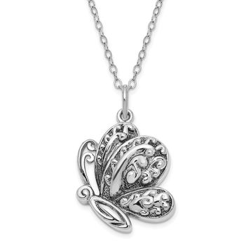 Antiqued Sterling Silver Butterfly Ash Holder Necklace, 18 Inch