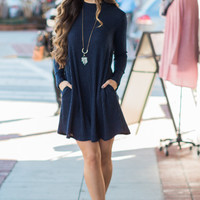 Plain Long Sleeve Dress With Pocket