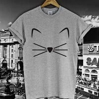 Cat Face beard Print Women T shirt Cotton Casual Funny Shirt For Lady Gray White Top Tee Hipster Z-232