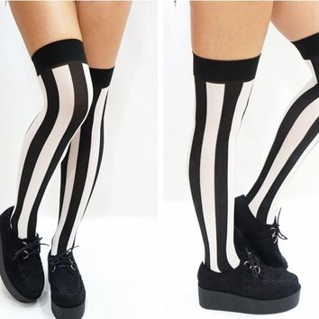 B&W Vertical Striped Pastel Goth Thigh high Stockings