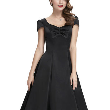 New Style 2017 Summer Womens Casual Dresses Retro Party 50s Black robe Vintage Dress Plus Size Cheap ladies Vestidos femininos