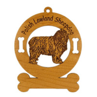3725 Polish Lowland Sheepdog Standing Ornament Personalized with Your Dog's Name