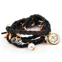 Black, Wrap Around, Multi-Charm Bracelet  from Paris Heroin Stars' Boutique