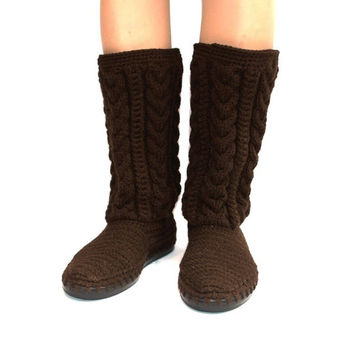 Crochet Boots Crochet Knitted Shoes Outdoor Autumn Fashion Boots Brown or any color