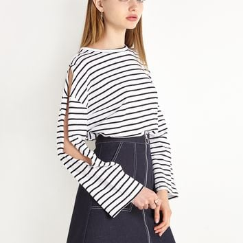 Striped Open Long Sleeve Top