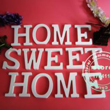 Free standing 15 CM artificial wood white letters artificial Wooden letter used for marking the name of wedding home decoration