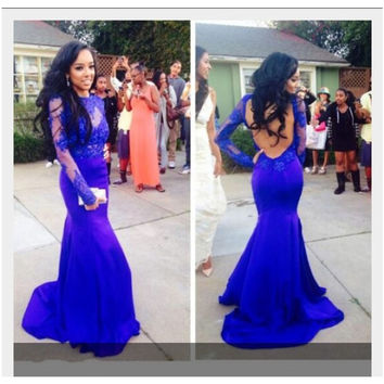 Glamorous Long Royal Blue Lace Full Sleeve Chiffon Mermaid Prom Dresses Scoop Backless Evening Party Gown Dress Vestidos 2016