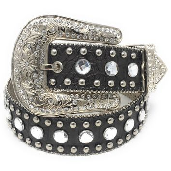 Blazin Roxx Black Croc Leather & Clear Rhinestone Belt