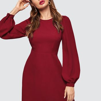 Bishop Sleeve Fit & Flare Dress