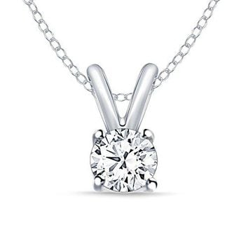 Round Diamond Pendant Necklace in 14k White Gold