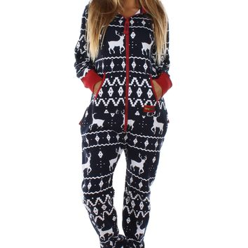 Women's Blue Reindeer Jumpsuit