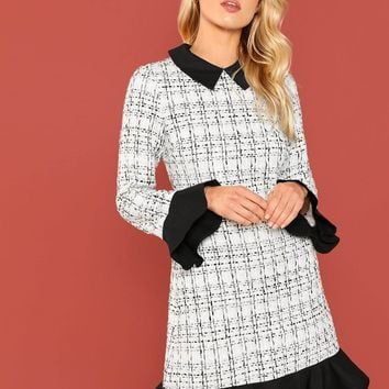 Black And White Ruffle Hem Collar Dress