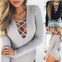 Jumpsuits & Rompers 2016 New Stylish Lady Women Sexy Low Cut Long Sleeve Fitted V-neck Jumpsuits Casual Rompers Bodysuit Q0043