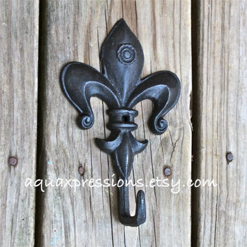 Fleur De Lis Metal Wall Hook /Black /Shabby Chic /Painted Ornate Hanger /Metal Key Holder /Bathroom Fixture /Bedroom /Mud Room /Nursery