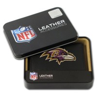 NFL Baltimore Ravens Embroidered Genuine Leather Trifold Wallet