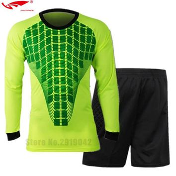 Survetement Football 2016 2017 Youth Men's Goalkeeper Soccer Jerseys Football Goalkeepers Set Long-sleeve Tops And Trousers L-3X