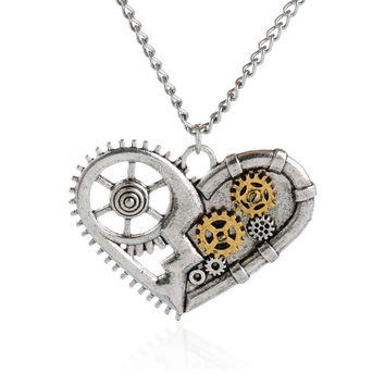 Hot Silver Color Vintage Necklace Steampunk Lover Heart Chain Statement Necklace