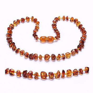 Amber Teething Necklace for Baby - Simple Package - Lab-Tested Authentic - 3 Sizes - 10 Colors
