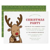 Christmas Party | Cartoon Rudolph Drinking Cocoa