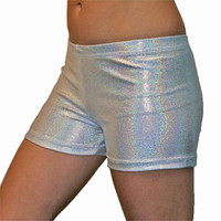GemGear Silver Hologram Volleyball Spandex Shorts - Volleyball.Com