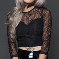 Lip Service Black Lace Crop Top Shirt
