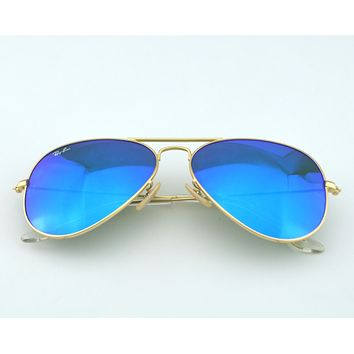 RayBan Aviator Blue Mirror Lens Matte Gold Frame Sunglasses