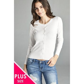 Ladies plus size 3/4 sleeve crew neck cardigan sweater