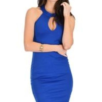 Electric Blue Body Con Keyhole Halter Statement Dress Medium