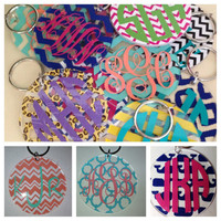 3 in Monogrammed Keychain or Tag for Luggage or Bookbag -  Many Options - Bridesmaid Gift Newlywed Bride Teacher Sorority Sister Mom