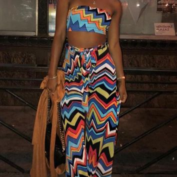 New Blue Wave Striped Print Rainbow Sashes Bandeau Off Shoulder Two Piece Bohemian Long Jumpsuit